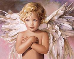 Алмазная мозаика Голубоглазый ангел 50x40см DM-153 Полная зашивка. Набор алмазной вышивки