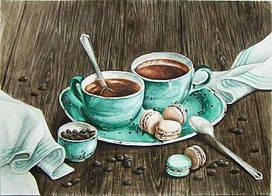 Алмазная мозаика Утренний кофе 50x35см DM-165 Полная зашивка. Набор алмазной вышивки