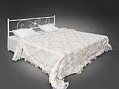 Двуспальная кровать Хризантема Tenero на ножках с прямоугольным кованным изголовьем металлическая