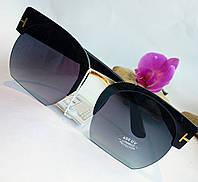 Солнцезащитные очки унисекс, черного цвета, полуободковые (056)