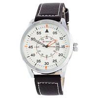 Классические часы мужские на ремешке водонепроницаемые Curren 8210-2 Silver-Black White