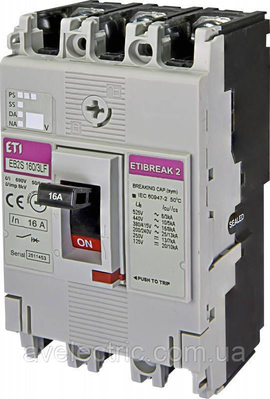 Авт. вимикач EB2S 160/3SF 100A (25kA, фікс./фікс.) 3P ETI, 4671835