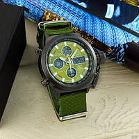 Часы наручные мужские оригинал AMST 3003 Black-Green Green Wristband
