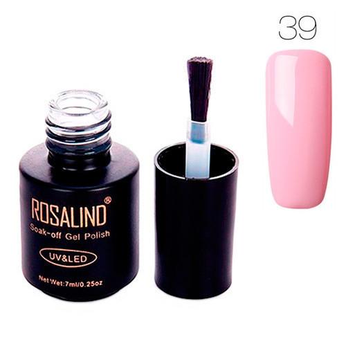 Гель-лак для ногтей маникюра 7мл Rosalind, шеллак, 39 светло-розовый