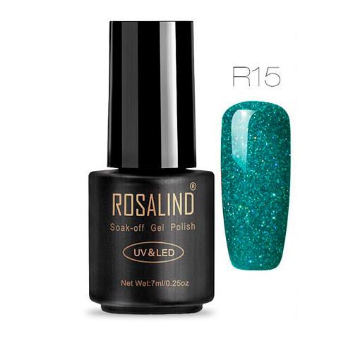 Гель-лак для нігтів манікюру 7мл Розалінда, зелений шімер R15