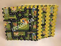 Детский коврик-пазл (мягкий пол татами ласточкин хвост) IZOLON EVA SPORT Місто 500х500х10мм (6 штук)