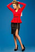 Платье Баска Бордо Красный Длинный Рукав Пояс Золотой Метал Юбка Распорка на Молнии