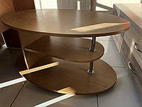 Овальний журнальний столик пересувний на роликах, фото 1