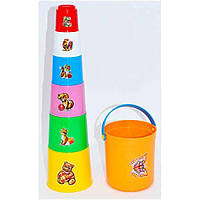 Пластмассовая детская Пирамидка-ведро 03235