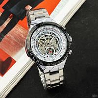 Часы наручные мужские механические водонепроницаемые Winner 8067 Silver-Black-White Red Cristal