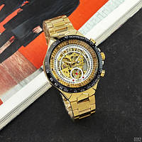 Часы мужские с металлическим браслетом водонепроницаемые CurWinner 8067 Gold-Black-White Red Cristal
