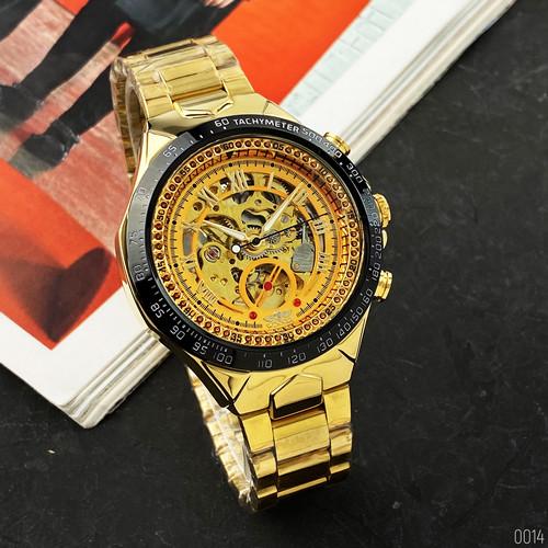 Часы мужские механические с автоподзаводом золотистые Winner 8067 Gold-Black-Gold Red Cristal