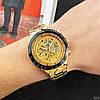 Часы мужские механические с автоподзаводом золотистые Winner 8067 Gold-Black-Gold Red Cristal - Фото