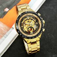 Часы мужские механические с автоподзаводом золотистыеWinner 8067 Gold-Black-Black Red Cristal
