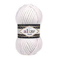 Толстая зимняя пряжа (25%-шерсть,75%-акрил;100г/55м) Alıze MEGAFIL 55 (белый)