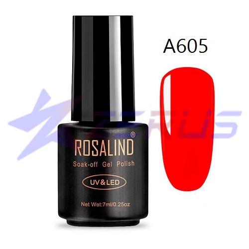 Гель-лак для ногтей маникюра 7мл Rosalind, шеллак, А605 неон красный