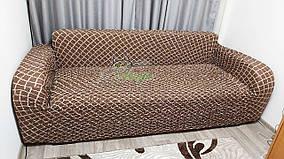Цветной чехол натяжной на трехместный диван без рюш Venera шоколад