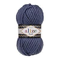 Толстая зимняя пряжа (25%-шерсть,75%-акрил;100г/55м) Alıze MEGAFIL 203 (джинс меланж)