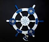Люстра штурвал деревянная белая на 3 лампочки в морском стиле с компасом, фото 8