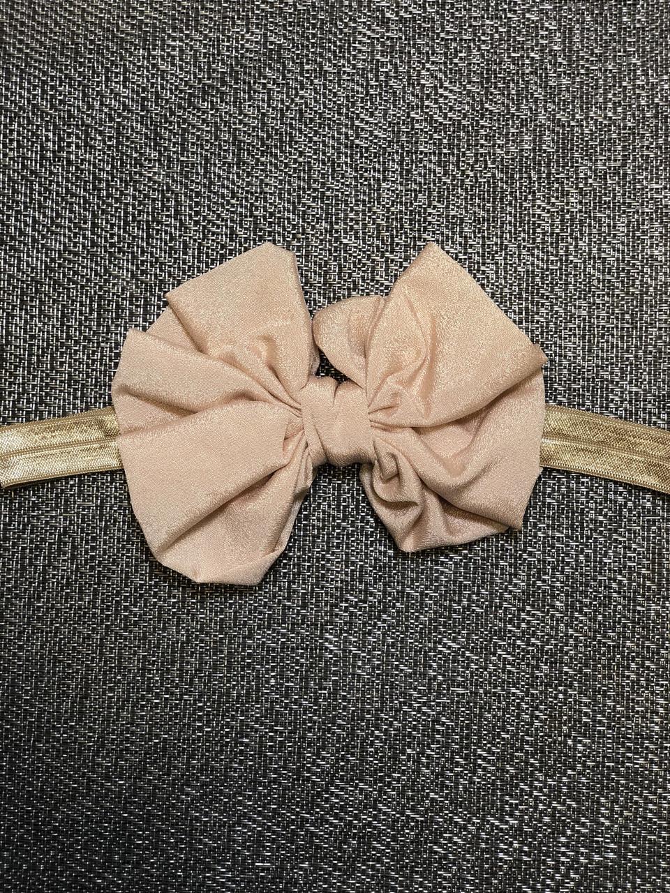 Повязка дитяча для дівчинки світло коричнева з бантиком, для девочки светло коричневая