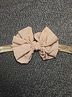 Повязка дитяча для дівчинки світло коричнева з бантиком, для девочки светло коричневая, фото 1