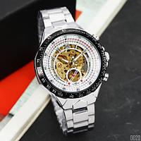 Часы наручные мужские механические водонепроницаемые Winner 8067 Silver-Black-Gold Cristal