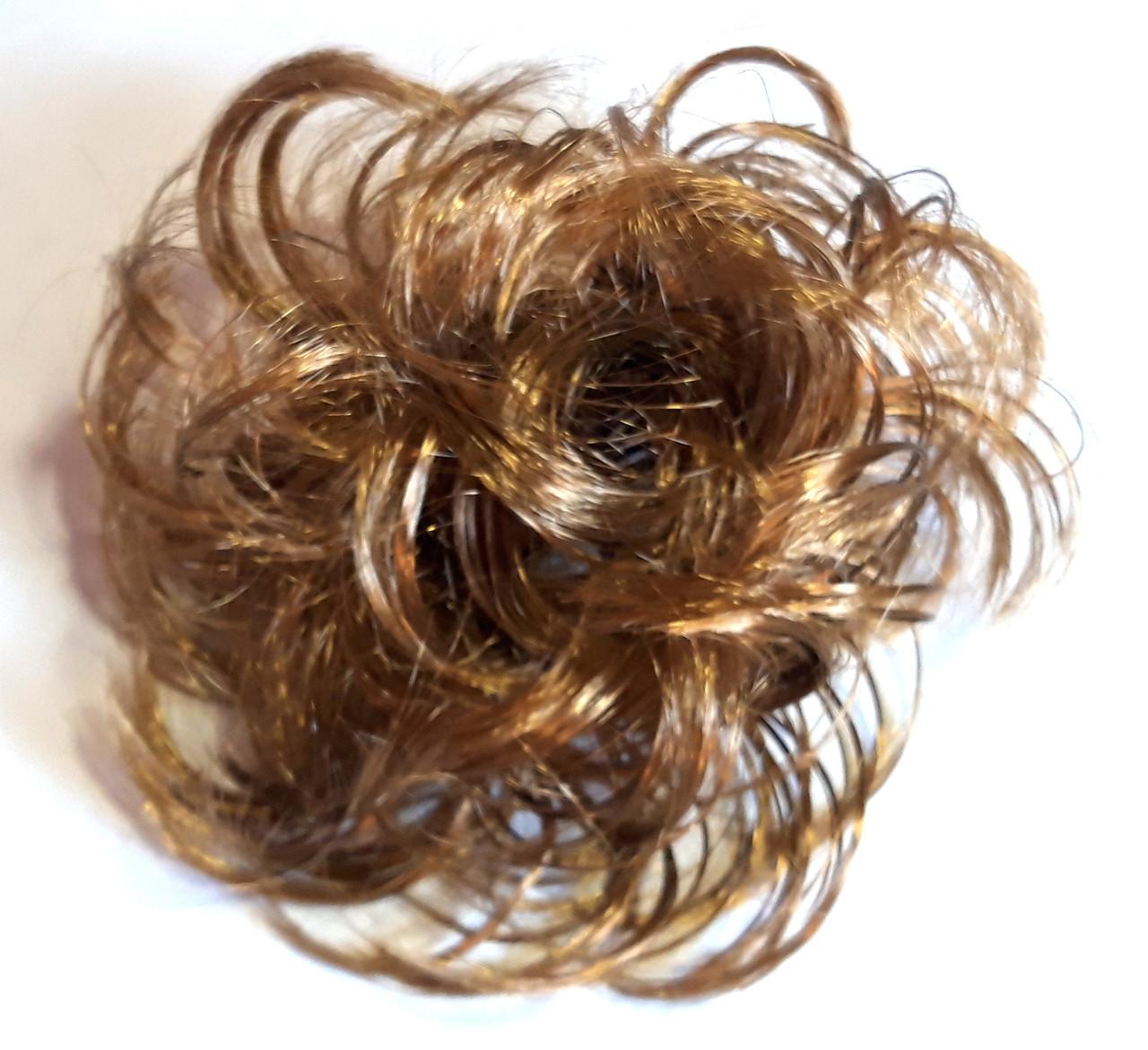 Резинка из искусственных волос 12 см каштановый