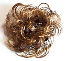 Гумка зі штучного волосся 12 см каштановий