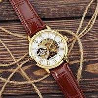 Часы наручные мужские механические водонепроницаемые Forsining 8099 Brown-Gold-White