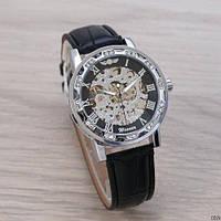Часы классические мужские механические на ремешке Winner 8012 Diamonds Automatic Black-Silver