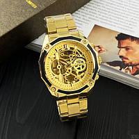 Часы мужские наручные механические с автоподзаводом золотистые Forsining 8130 All Gold Automatic