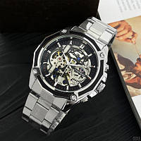 Часы мужские механические с автоподзаводом на браслете серебристого цвета Forsining 8130 Silver-Black