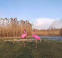 Садовая фигура Пара фламинго. декоративная  садовая фигура.
