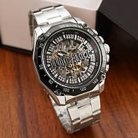 Стильные часы мужские механические с автоподзаводом оригинал Winner 8186 Big Diamonds Silver