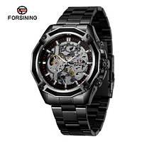 Часы мужские наручные водонепроницаемые механические с автоподзаводом Forsining 8130 Black-Silver