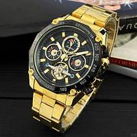Часы наручные мужские водонепроницаемые механические с автоподзаводом Forsining 6913 Gold-Black Оригинал