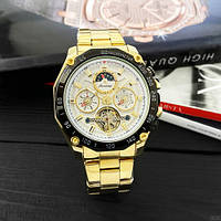 Часы мужские водонепроницаемые механические с автоподзаводом золотого цвета Forsining 6913 Gold-Black-White