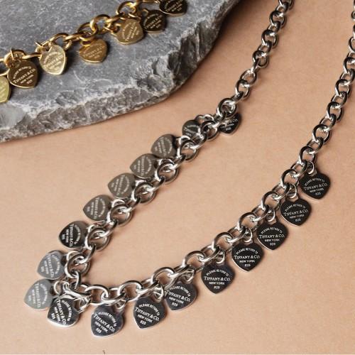 Женское колье из стали Tiffany с множеством стальных сердец-подвесок 50 см 175464