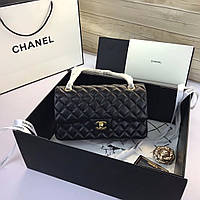 Черная кожаная женская сумка клатч Chanel Шанель 25см. Фурнитура золото. Люкс, фирменная упаковка!