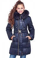 Подростковая зимняя куртка с мехом на капюшоне