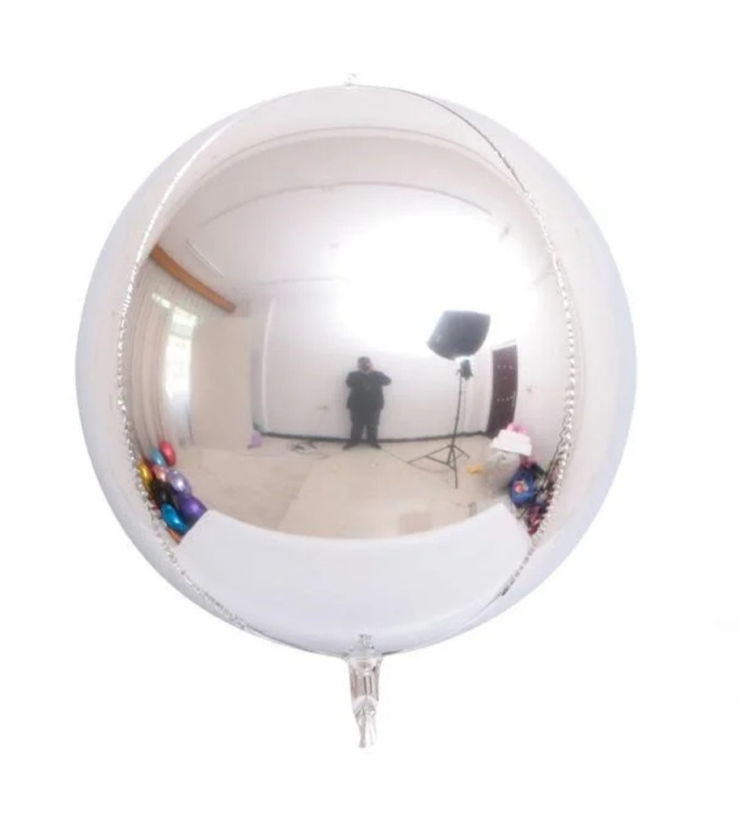"""Фольгована кулька 4D сфера срібна 10"""" Китай"""