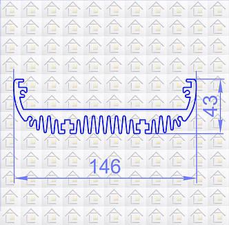 Радиаторный алюминиевый профиль 146х43 без покрытия (радиатор охлаждения), фото 2