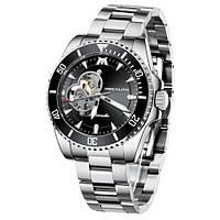 Часы механические с автоподзаводом водонепроницаемые  Megalith 8209M Silver-Black
