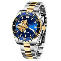 Часы механические с автоподзаводом водонепроницаемые оригинальные Megalith 8209M Silver-Gold-Blue