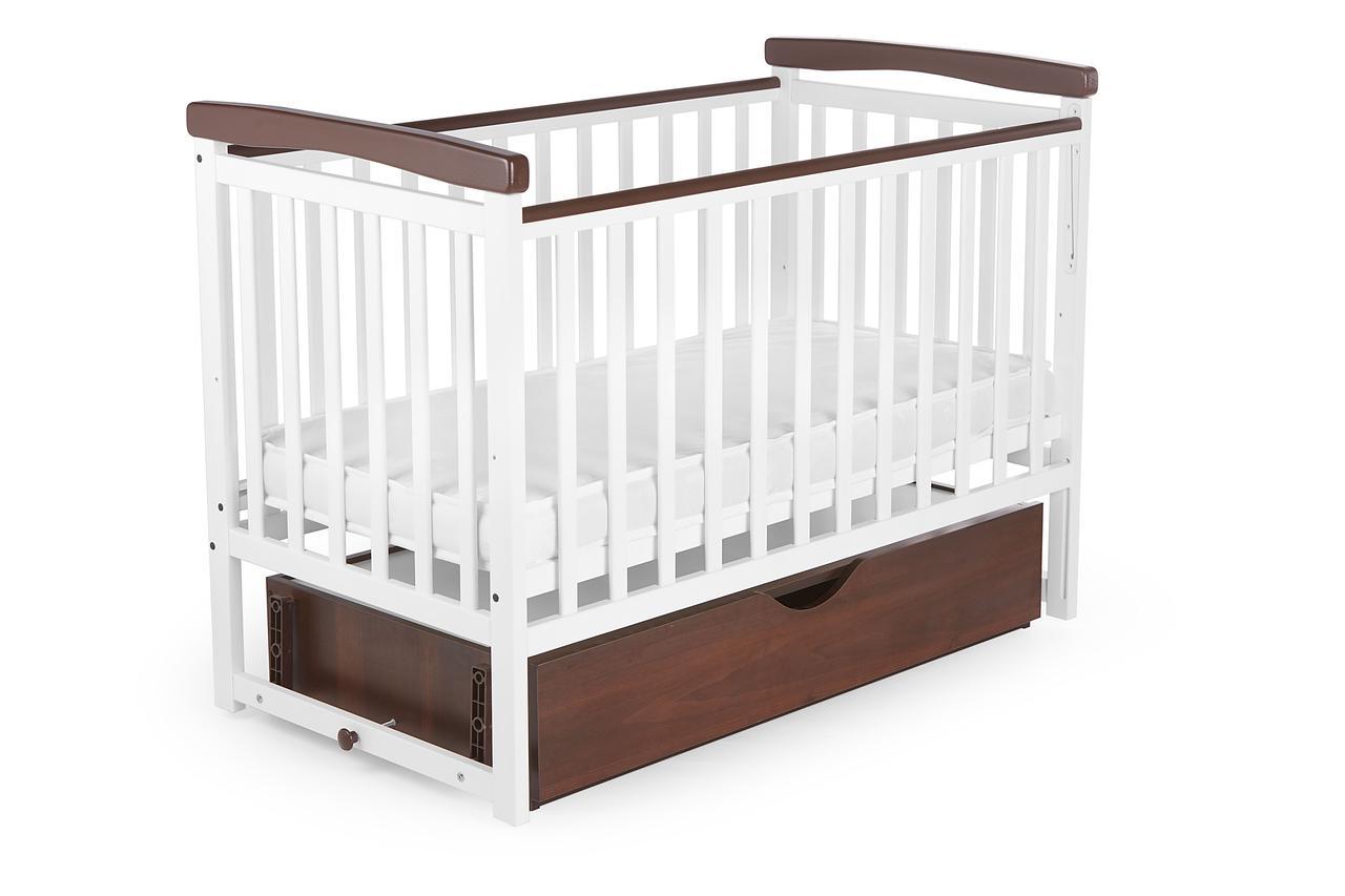 Ліжко дитяче DeSon Bimbi color з опускний боковиною та ящиком (MRIYA combi), біла-горіх