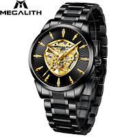 Часы механические с автоподзаводом водонепроницаемые Megalith 8210M Black-Gold