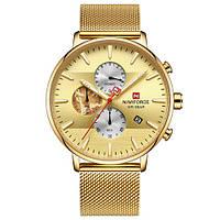 Золотые часы мужские с золотым браслетом Naviforce NF9169 All Gold