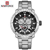 Часы наручные кварцевые мужские оригинальные Naviforce NF9158 Silver-Black