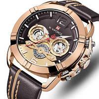 Часы наручные кварцевые мужские оригинальные Naviforce NF9168 Brown-Cuprum