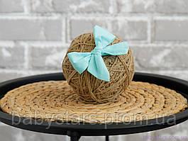 """Пов'язка для волосся для дівчинки """"Бантик"""" на резинці one size, м'ятна"""